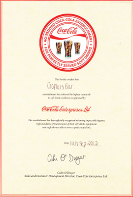 Coca-Cola award for excellence!