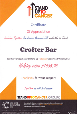 Charity contributions for 'Stand up to cancer'